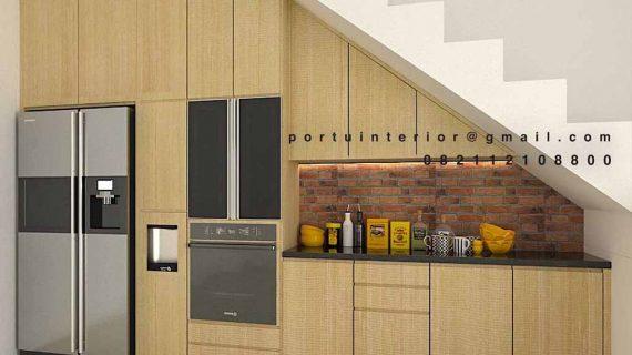 Desain kitchen set bawah tangga minimalis modern