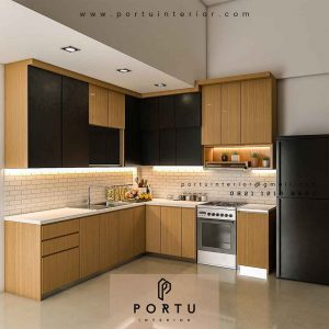 Pembuatan Kitchen Set leter L finishing kombinasi HPL