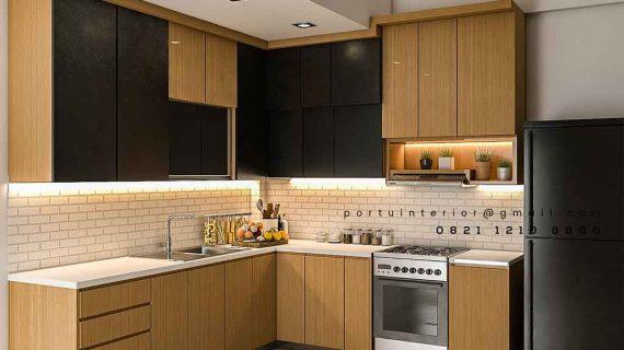 Pembuatan Kitchen Set leter L finishing kombinasi HPL