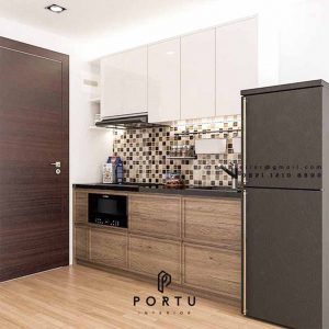 Kitchen Set HPL Motif Kayu & Putih Apartemen B Residence BSD Serpong Pagedangan ID4918P