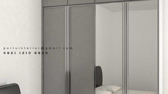 Lemari Pakaian Pintu Swing Light Grey Kombinasi Kaca Cermin Id4883